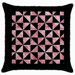 Triangle1 Black Marble & Red & White Marble Throw Pillow Case (black)
