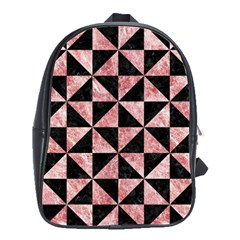 Triangle1 Black Marble & Red & White Marble School Bag (large)
