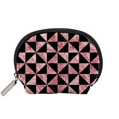 Triangle1 Black Marble & Red & White Marble Accessory Pouch (small)