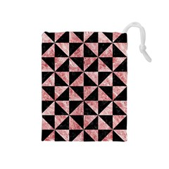 Triangle1 Black Marble & Red & White Marble Drawstring Pouch (medium)
