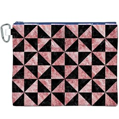 Triangle1 Black Marble & Red & White Marble Canvas Cosmetic Bag (xxxl)