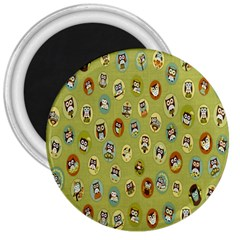 Owl Round Green 3  Magnets