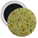 Owl Round Green 3  Magnets Front