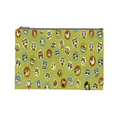 Owl Round Green Cosmetic Bag (large)