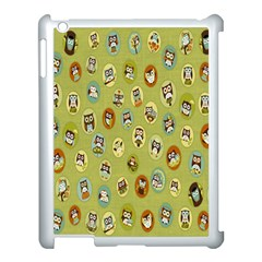 Owl Round Green Apple Ipad 3/4 Case (white)