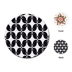 Black Flower Accents Playing Cards (round)