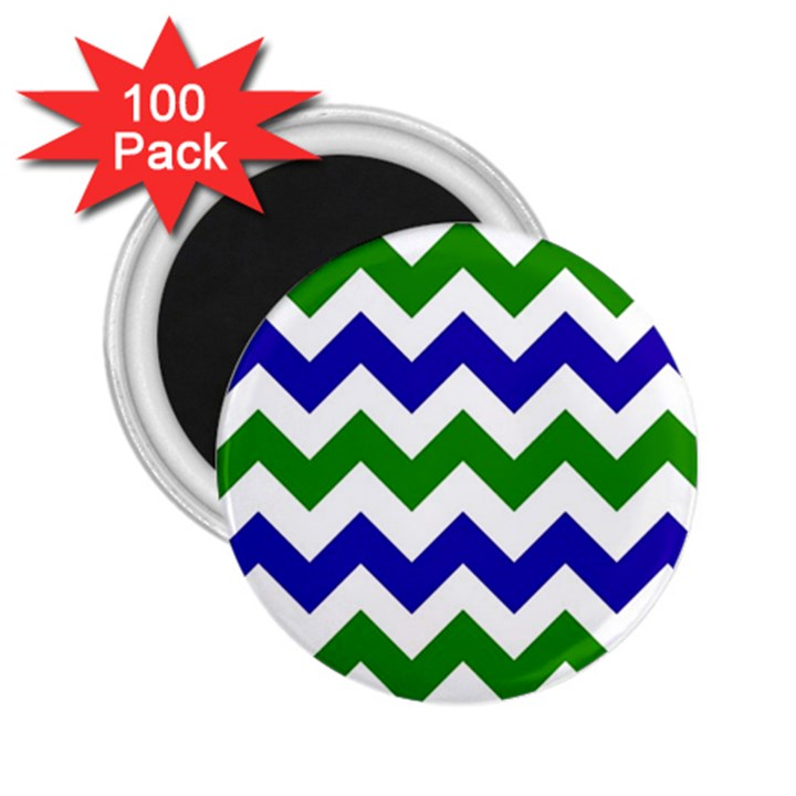 Blue And Green Chevron 2.25  Magnets (100 pack)