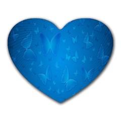 Butterflies Blue Butterfly Heart Mousepads