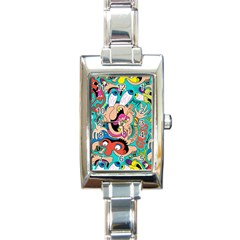 Cartoons Funny Face Patten Rectangle Italian Charm Watch