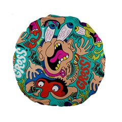 Cartoons Funny Face Patten Standard 15  Premium Round Cushions