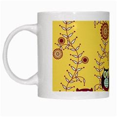 Cheery Owls Yellow White Mugs