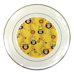 Cheery Owls Yellow Porcelain Plates