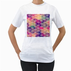 Chevron Colorful Women s T Shirt (white) (two Sided)