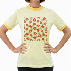 Flower Pink Women s Fitted Ringer T Shirts
