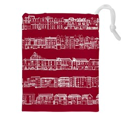 City Building Red Drawstring Pouches (xxl)