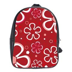 Flower Red Cute School Bags(large)