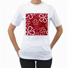 Flower Red Cute Women s T Shirt (white)