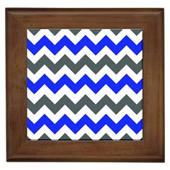 Grey And Blue Chevron Framed Tiles