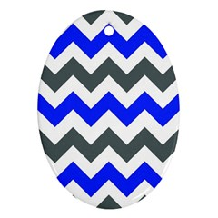 Grey And Blue Chevron Ornament (oval)