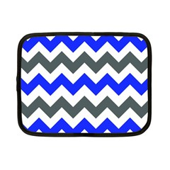 Grey And Blue Chevron Netbook Case (small)