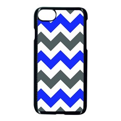 Grey And Blue Chevron Apple Iphone 7 Seamless Case (black)