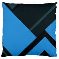 Lines Textur  Stripes Blue Large Flano Cushion Case (two Sides)