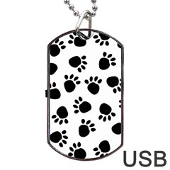 Paws Black Animals Dog Tag Usb Flash (one Side)