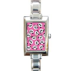 Cute Panda Pink Rectangle Italian Charm Watch