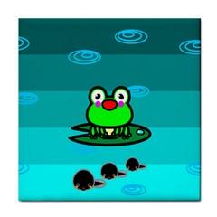 Frog Tadpole Green Tile Coasters