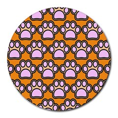 Dog Foot Orange Soles Feet Round Mousepads