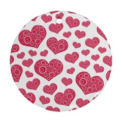 Heart Love Pink Back Ornament (round)