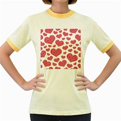 Heart Love Pink Back Women s Fitted Ringer T Shirts