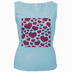 Heart Love Pink Back Women s Baby Blue Tank Top