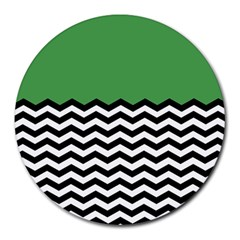 Lime Green Chevron Round Mousepads