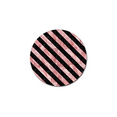Stripes3 Black Marble & Red & White Marble (r) Golf Ball Marker