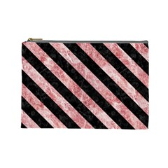 Stripes3 Black Marble & Red & White Marble (r) Cosmetic Bag (large)