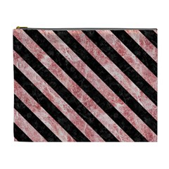 Stripes3 Black Marble & Red & White Marble (r) Cosmetic Bag (xl)
