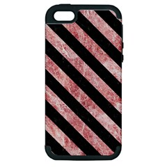 Stripes3 Black Marble & Red & White Marble (r) Apple Iphone 5 Hardshell Case (pc+silicone)