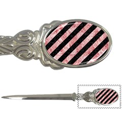Stripes3 Black Marble & Red & White Marble Letter Opener