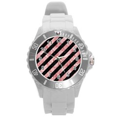 Stripes3 Black Marble & Red & White Marble Round Plastic Sport Watch (l)
