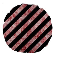 Stripes3 Black Marble & Red & White Marble Large 18  Premium Round Cushion