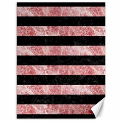 Stripes2 Black Marble & Red & White Marble Canvas 36  X 48