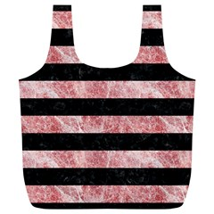 Stripes2 Black Marble & Red & White Marble Full Print Recycle Bag (xl)