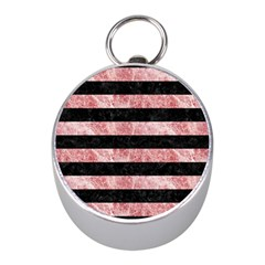Stripes2 Black Marble & Red & White Marble Silver Compass (mini)