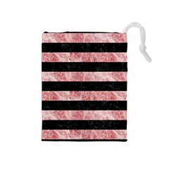 Stripes2 Black Marble & Red & White Marble Drawstring Pouch (medium)