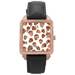 Chocolate Strawberries  Rose Gold Leather Watch