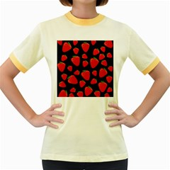 Strawberries pattern Women s Fitted Ringer T-Shirts