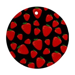 Strawberries pattern Round Ornament (Two Sides)