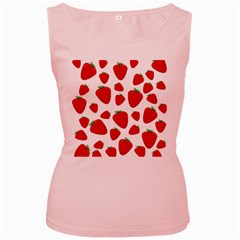 Decorative strawberries pattern Women s Pink Tank Top