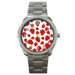Decorative strawberries pattern Sport Metal Watch